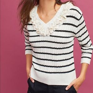 Anthropologie Harlyn Striped Ruffle Sweater S